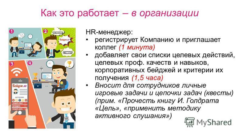 HR-менеджер: регистрирует Компанию и приглашает коллег (1 минута) добавляет свои списки целевых действий, целевых проф. качеств и навыков, корпоративных бейджей и критерии их получения (1,5 часа) Вносит для сотрудников личные игровые задачи и цепочки