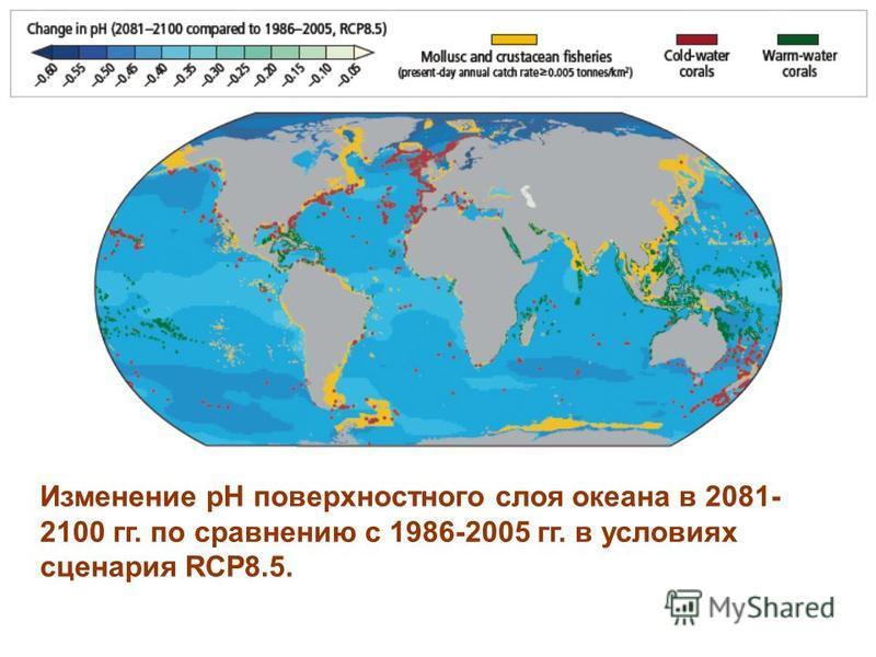 Изменение рН поверхностного слоя океана в 2081- 2100 гг. по сравнению с 1986-2005 гг. в условиях сценария RCP8.5.