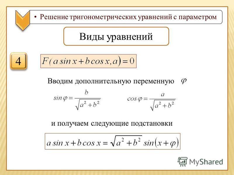 Решение тригонометрических уравнений с параметром Виды уравнений 4 4 Вводим дополнительную переменную и получаем следующие подстановки