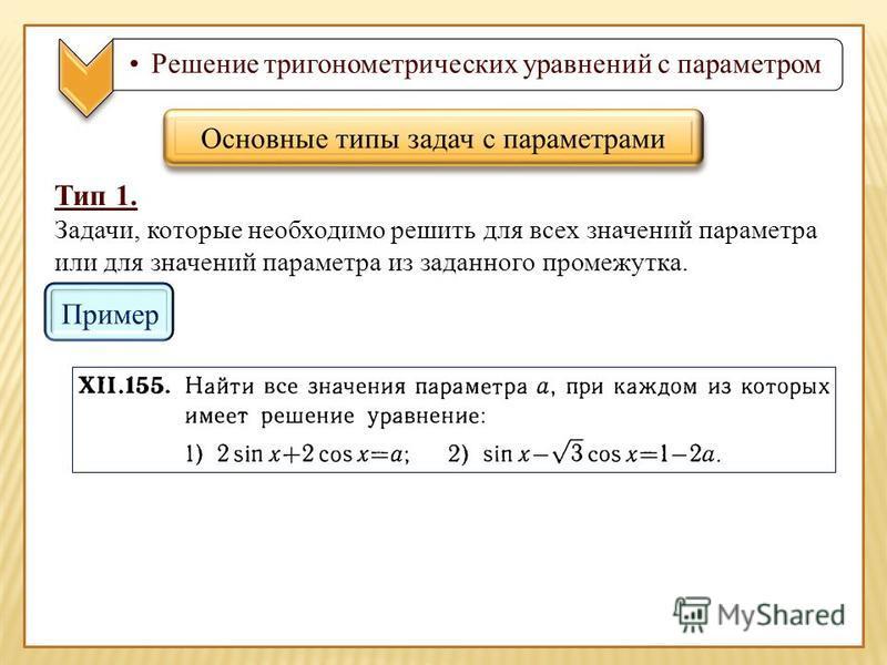 Решение тригонометрических уравнений с параметром Тип 1. Задачи, которые необходимо решить для всех значений параметра или для значений параметра из заданного промежутка. Основные типы задач с параметрами Пример