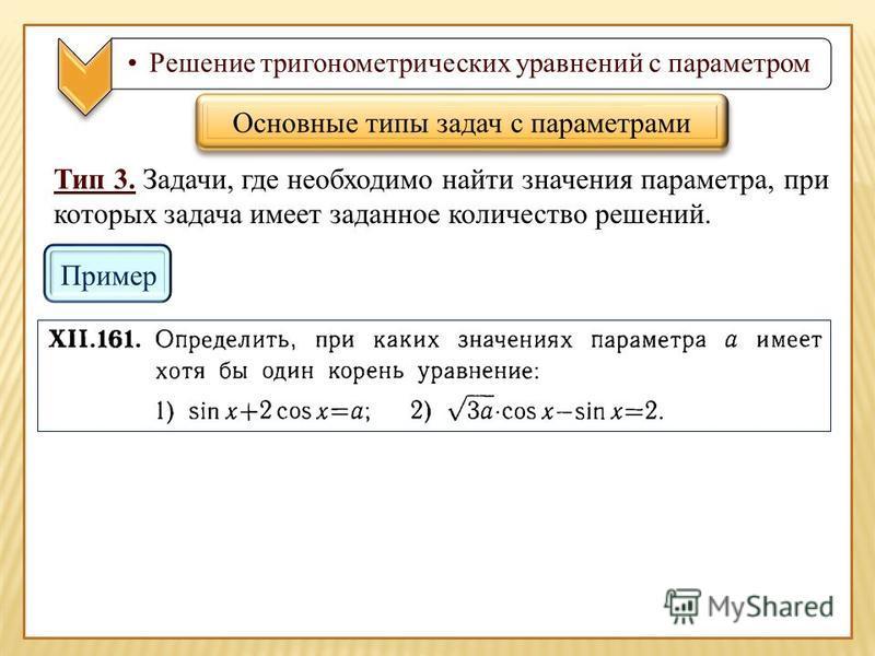 Решение тригонометрических уравнений с параметром Тип 3. Задачи, где необходимо найти значения параметра, при которых задача имеет заданное количество решений. Основные типы задач с параметрами Пример
