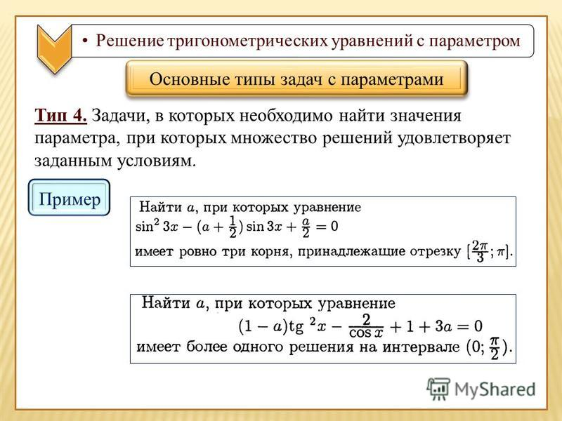 Решение тригонометрических уравнений с параметром Тип 4. Задачи, в которых необходимо найти значения параметра, при которых множество решений удовлетворяет заданным условиям. Основные типы задач с параметрами Пример
