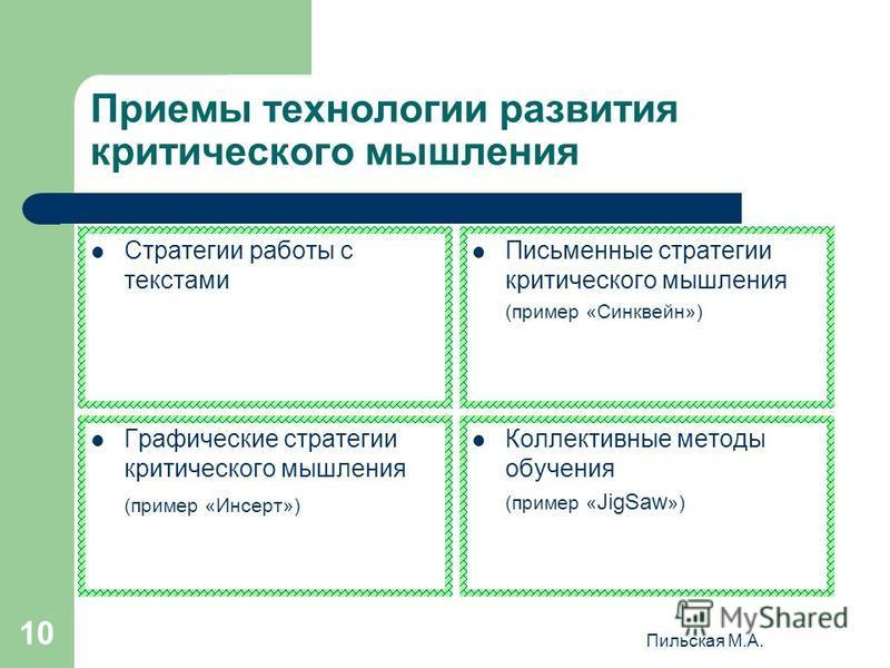 Пильская М.А. 10 Приемы технологии развития критического мышления Стратегии работы с текстами Письменные стратегии критического мышления (пример «Синквейн») Графические стратегии критического мышления (пример «Инсерт») Коллективные методы обучения (п