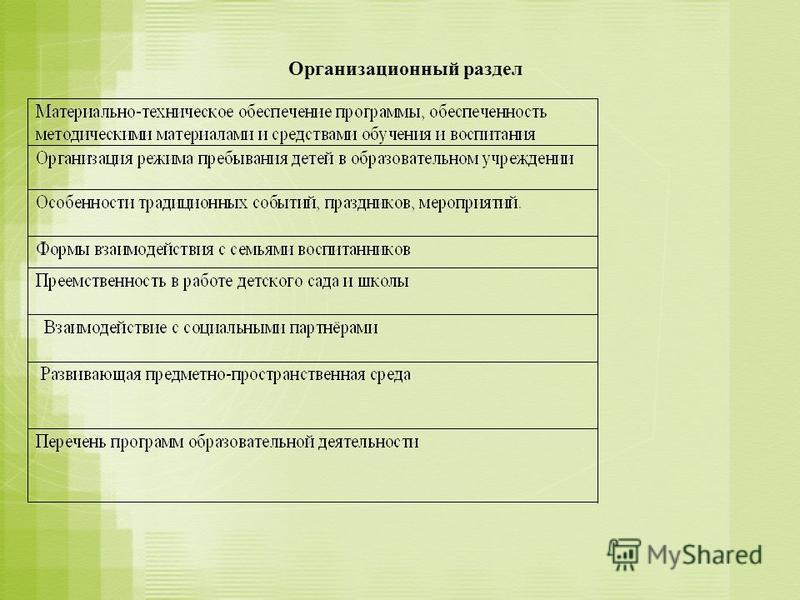 Организационный раздел