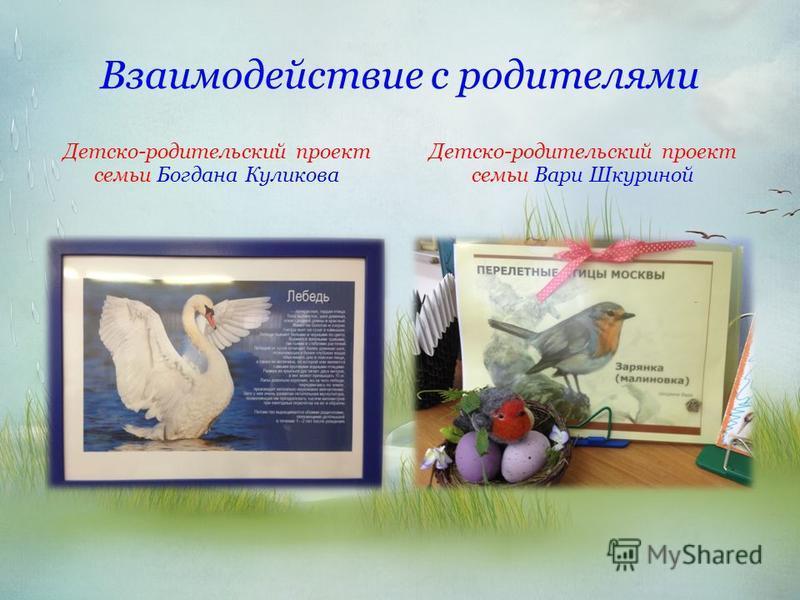 Взаимодействие с родителями Детско-родительский проект семьи Богдана Куликова Детско-родительский проект семьи Вари Шкуриной