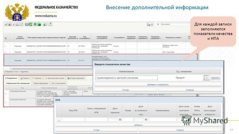 17 Внесение дополнительной информации Для каждой записи заполняются показатели качества и НПА