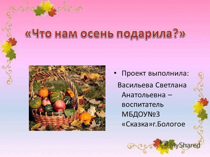 Проект выполнила: Васильева Светлана Анатольевна – воспитатель МБДОУ3 «Сказка»г.Бологое
