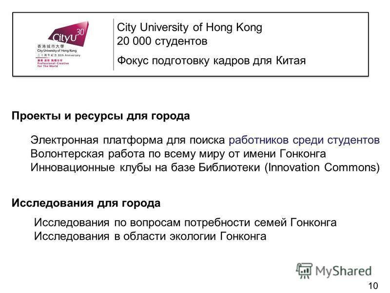 Проекты и ресурсы для города Электронная платформа для поиска работников среди студентов Волонтерская работа по всему миру от имени Гонконга Инновационные клубы на базе Библиотеки (Innovation Commons) Исследования для города Исследования по вопросам