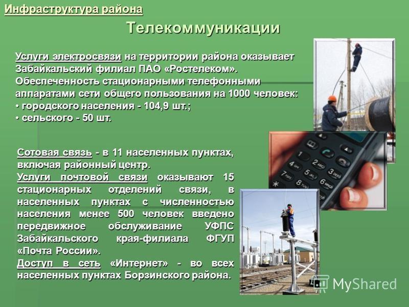 Инфраструктура района Телекоммуникации Услуги электросвязи на территории района оказывает Забайкальский филиал ПАО «Ростелеком». Обеспеченность стационарными телефонными аппаратами сети общего пользования на 1000 человек: городского населения - 104,9