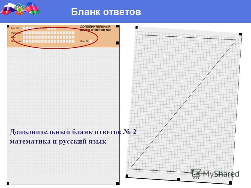 Бланк ответов Дополнительный бланк ответов 2 математика и русский язык