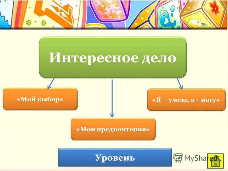 Интересное дело «Мой выбор» «Мои предпочтения» Уровень «Я – умею, я - могу»