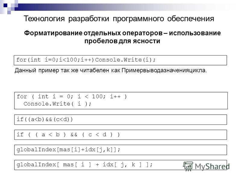 Технология разработки программного обеспечения Форматирование отдельных операторов – использование пробелов для ясности for(int i=0;i<100;i++)Console.Write(i); Данный пример так же читабелен как Примервыводазначенияцикла. for ( int i = 0; i < 100; i+