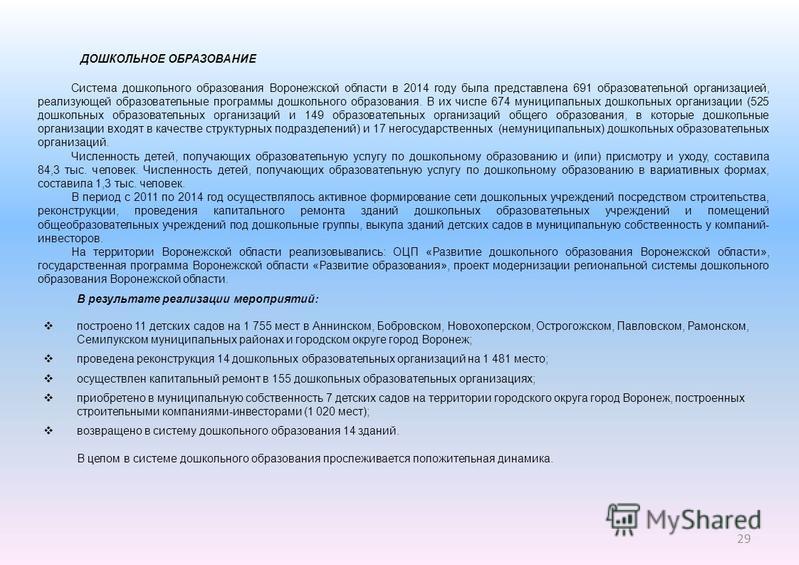 29 ДОШКОЛЬНОЕ ОБРАЗОВАНИЕ Система дошкольного образования Воронежской области в 2014 году была представлена 691 образовательной организацией, реализующей образовательные программы дошкольного образования. В их числе 674 муниципальных дошкольных орган