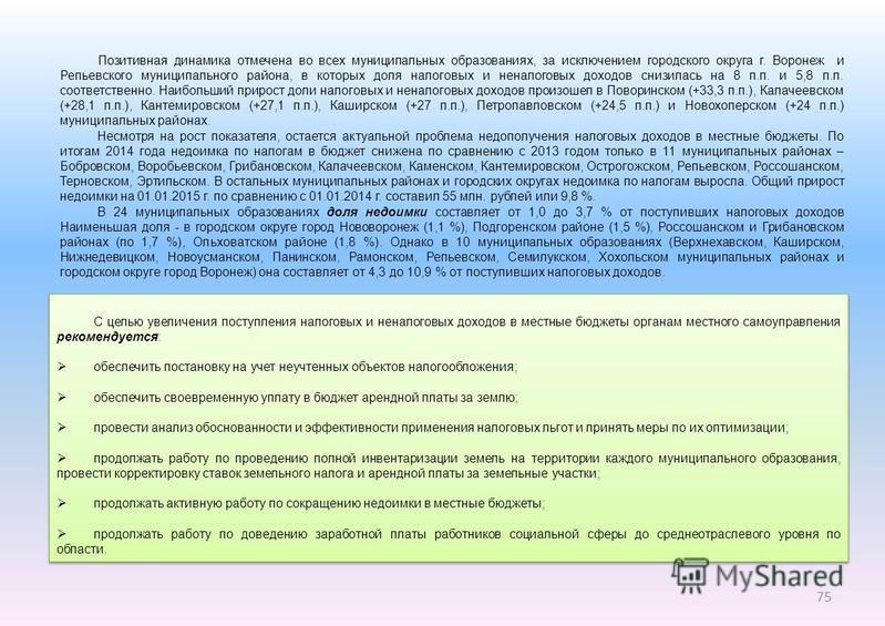 75 Позитивная динамика отмечена во всех муниципальных образованиях, за исключением городского округа г. Воронеж и Репьевского муниципального района, в которых доля налоговых и неналоговых доходов снизилась на 8 п.п. и 5,8 п.п. соответственно. Наиболь
