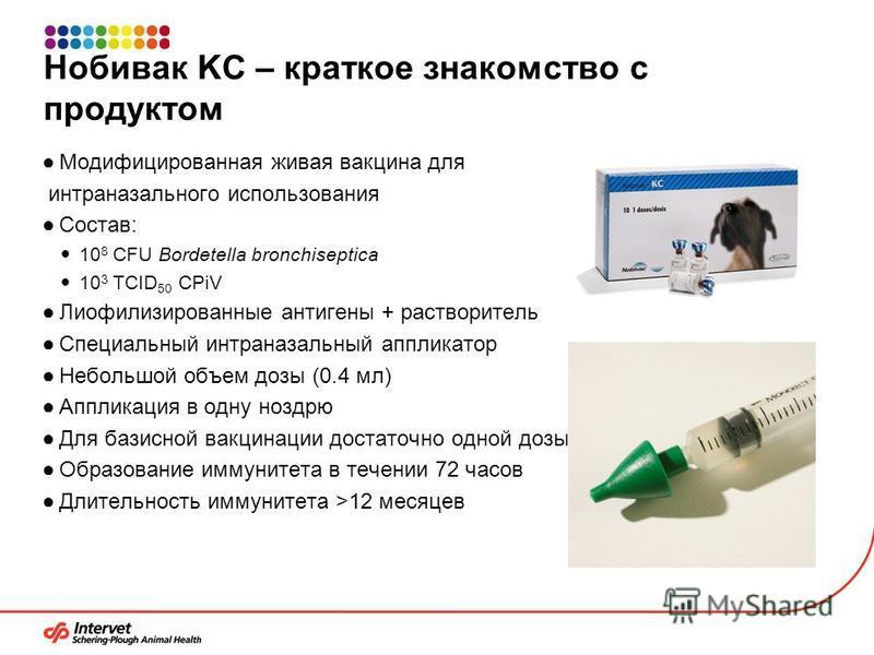 Нобивак KC – краткое знакомство с продуктом Модифицированная живая вакцина для интраназального использования Состав: 10 8 CFU Bordetella bronchiseptica 10 3 TCID 50 CPiV Лиофилизированные антигены + растворитель Специальный интраназальный аппликатор