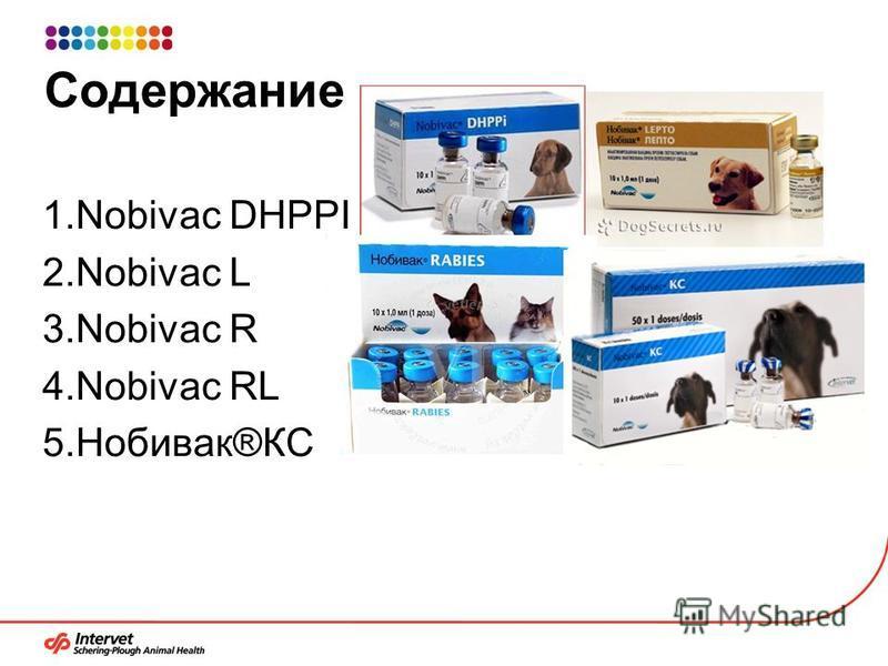 Содержание 1. Nobivac DHPPI 2. Nobivac L 3. Nobivac R 4. Nobivac RL 5.Нобивак®КС