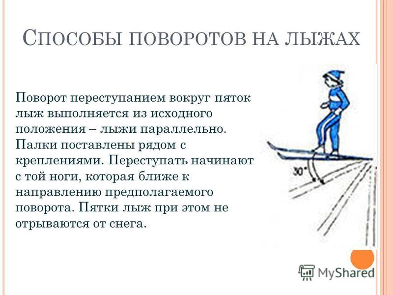 С ПОСОБЫ ПОВОРОТОВ НА ЛЫЖАХ Поворот переступанием вокруг пяток лыж выполняется из исходного положения – лыжи параллельно. Палки поставлены рядом с креплениями. Переступать начинают с той ноги, которая ближе к направлению предполагаемого поворота. Пят