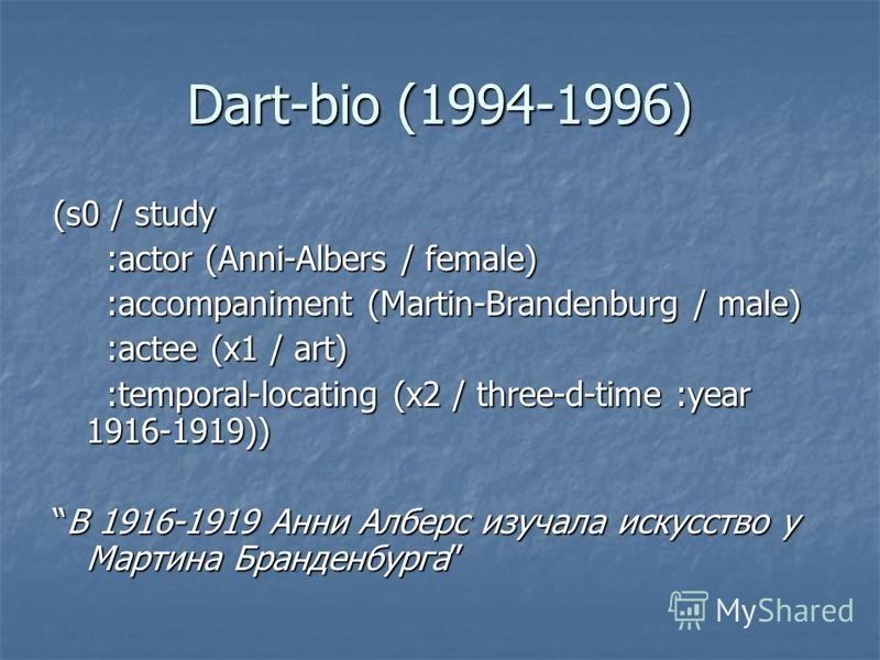 Dart-bio (1994-1996) (s0 / study :actor (Anni-Albers / female) :actor (Anni-Albers / female) :accompaniment (Martin-Brandenburg / male) :accompaniment (Martin-Brandenburg / male) :actee (x1 / art) :actee (x1 / art) :temporal-locating (x2 / three-d-ti