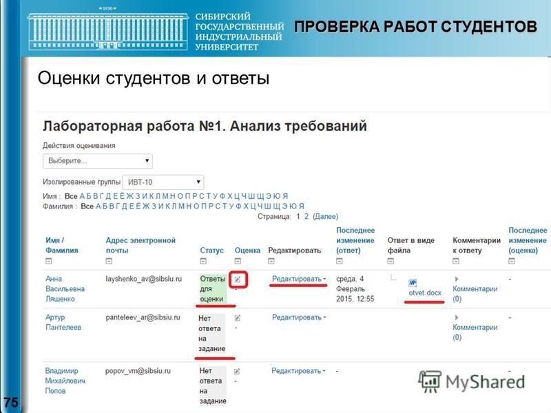 ПРОВЕРКА РАБОТ СТУДЕНТОВ 75 Оценки студентов и ответы