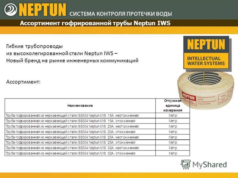 Гибкие трубопроводы из высоколегированной стали Neptun IWS – Новый бренд на рынке инженерных коммуникаций Ассортимент: Ассортимент гофрированной трубы Neptun IWS