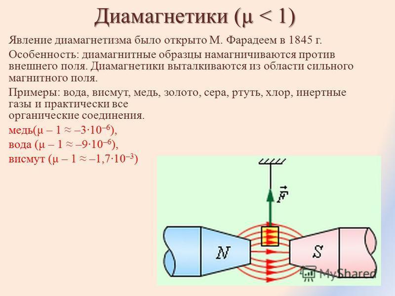 Диамагнетики (µ < 1) Явление диамагнетизма было открыто М. Фарадеем в 1845 г. Особенность: диамагнитные образцы намагничиваются против внешнего поля. Диамагнетики выталкиваются из области сильного магнитного поля. Примеры: вода, висмут, медь, золото,