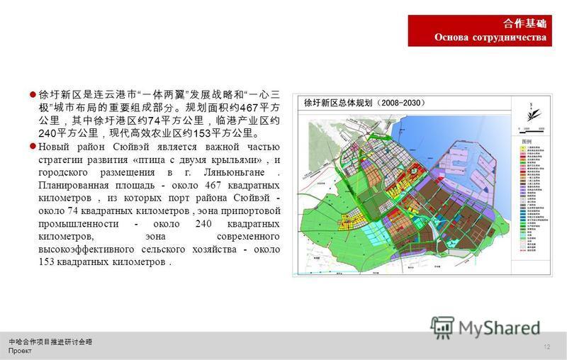 Проект 12 Основа сотрудничества 467 74 240 153 Новый район Сюйвэй является важной частью стратегии развития «птица с двумя крыльями», и городс кого размещения в г. Ляньюньгане. Планированная площадь - около 467 квадратных километров, из которых порт