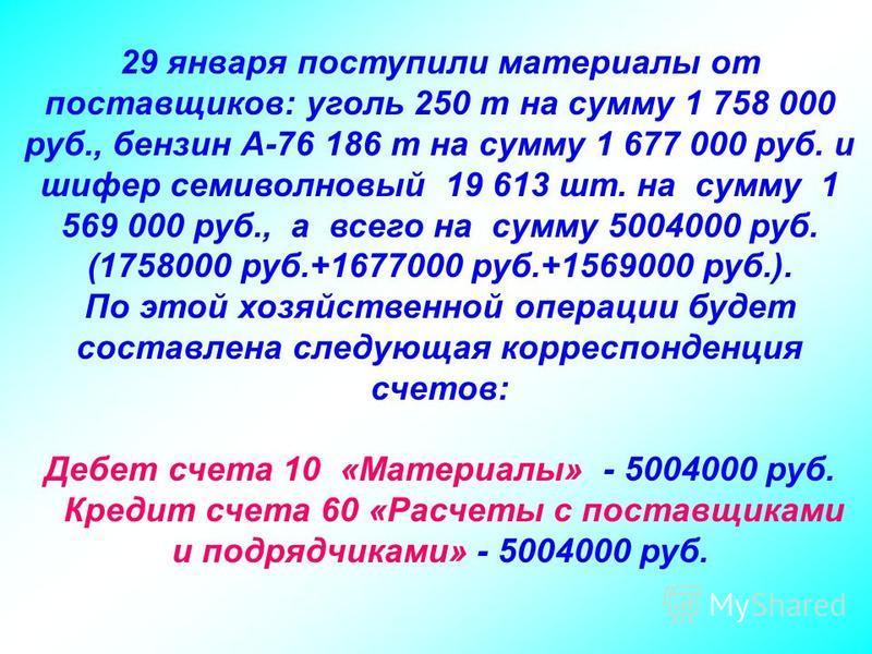 29 января поступили материалы от поставщиков: уголь 250 т на сумму 1 758 000 руб., бензин А-76 186 т на сумму 1 677 000 руб. и шифер семиволновый 19 613 шт. на сумму 1 569 000 руб., а всего на сумму 5004000 руб. (1758000 руб.+1677000 руб.+1569000 руб
