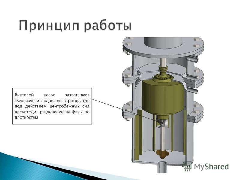 Винтовой насос захватывает эмульсию и подает ее в ротор, где под действием центробежных сил происходит разделение на фазы по плотностям