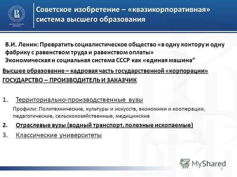 Советское изобретение – «квазикорпоративная» система высшего образования 6 Высшее образование – кадровая часть государственной «корпорации» ГОСУДАРСТВО – ПРОИЗВОДИТЕЛЬ И ЗАКАЗЧИК 1.Территориально-производственные вузы Профили: Политехнические, культу