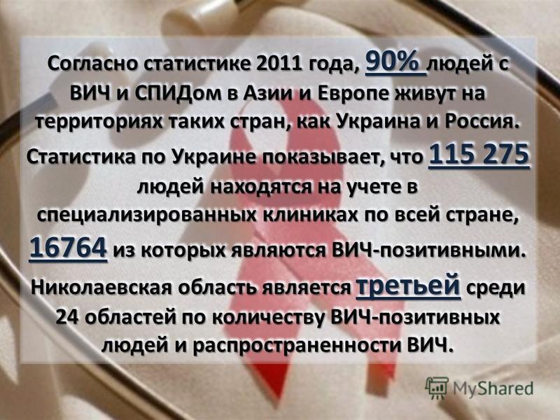 Согласно статистике 2011 года, 90% людей с ВИЧ и СПИДом в Азии и Европе живут на территориях таких стран, как Украина и Россия. Статистика по Украине показывает, что 115 275 людей находятся на учете в специализированных клиниках по всей стране, 16764