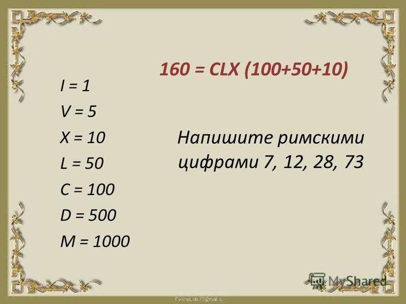 Напишите римскими цифрами 7, 12, 28, 73 I = 1 V = 5 X = 10 L = 50 C = 100 D = 500 M = 1000 160 = CLX (100+50+10)