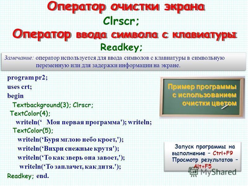 Оператор очистки экрана program pr2; uses crt; begin Textbackground(3); Clrscr; TextColor(4); writeln( Моя первая программа'); writeln; TextColor(5); writeln(Буря мглою небо кроет,'); writeln(Вихри снежные крутя'); writeln(То как зверь она завоет,');