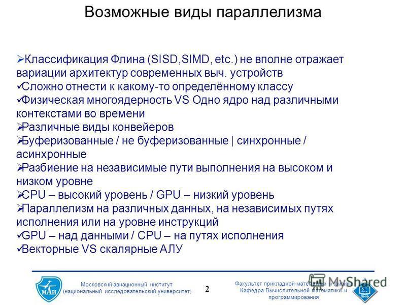 Факультет прикладной математики и физики Кафедра Вычислительной математики и программирования 2 Московский авиационный институт (национальный исследовательский университет ) Возможные виды параллелизма Классификация Флина (SISD,SIMD, etc.) не вполне