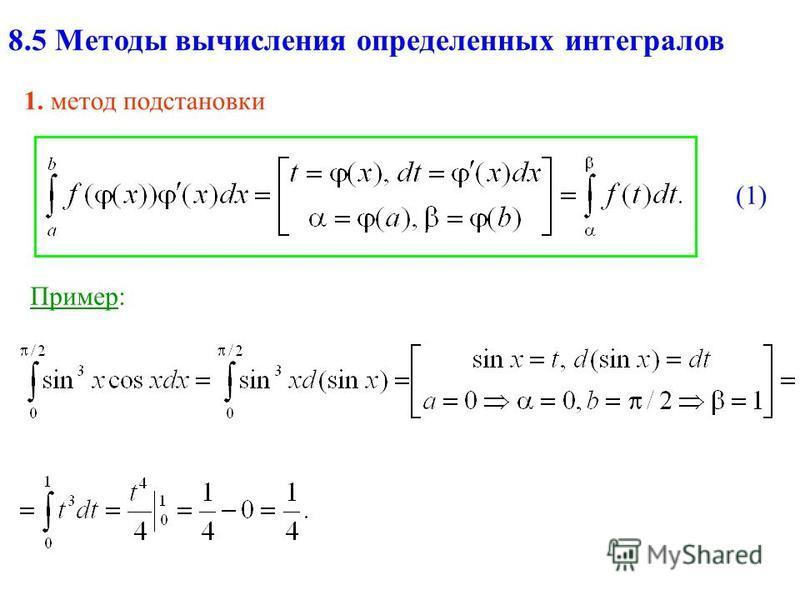 8.5 Методы вычисления определенных интегралов 1. метод подстановки Пример: (1)(1)