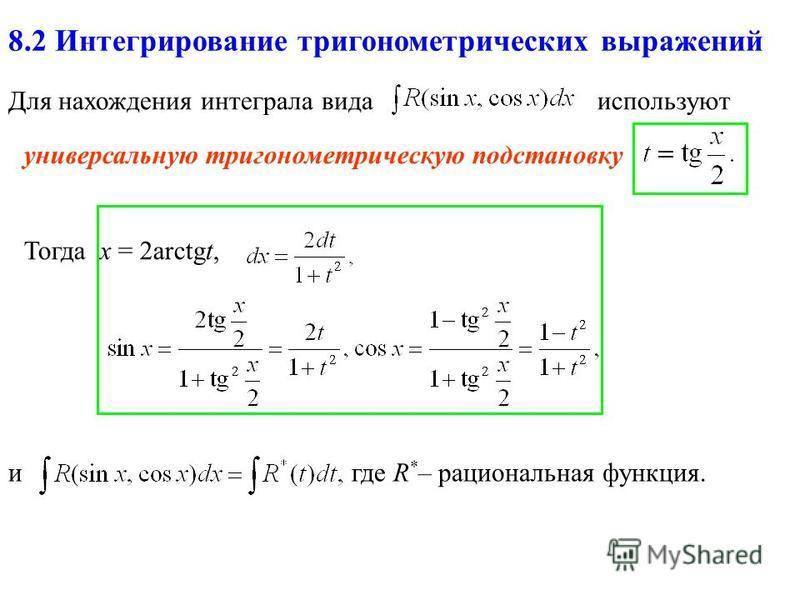 8.2 Интегрирование тригонометрических выражений Для нахождения интеграла вида универсальную тригонометрическую подстановку Тогда x = 2arctgt, используют где R * – рациональная функция.и