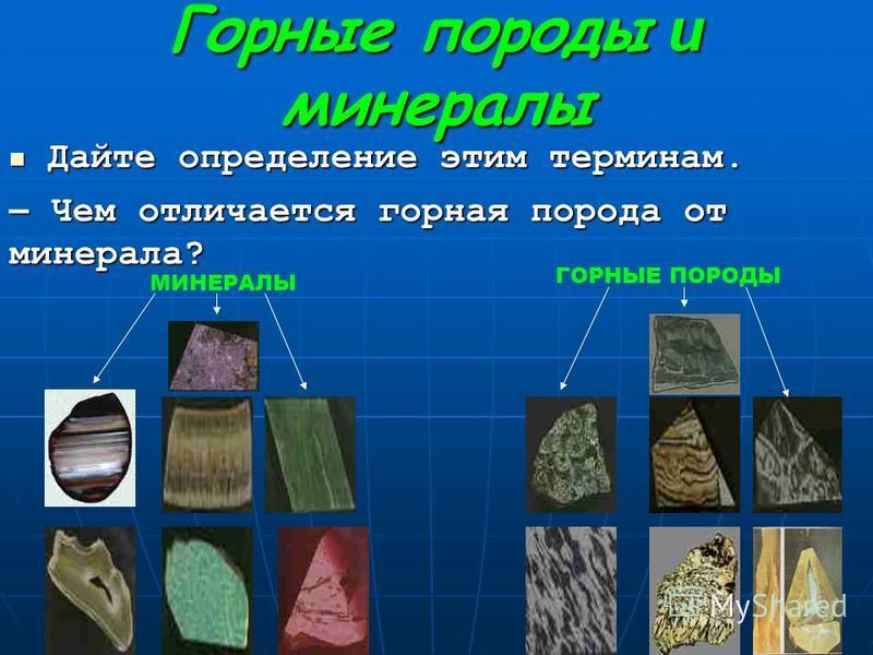 Горные породы и минералы Дайте определение этим терминам. Дайте определение этим терминам. – Чем отличается горная порода от минерала? МИНЕРАЛЫ ГОРНЫЕ ПОРОДЫ