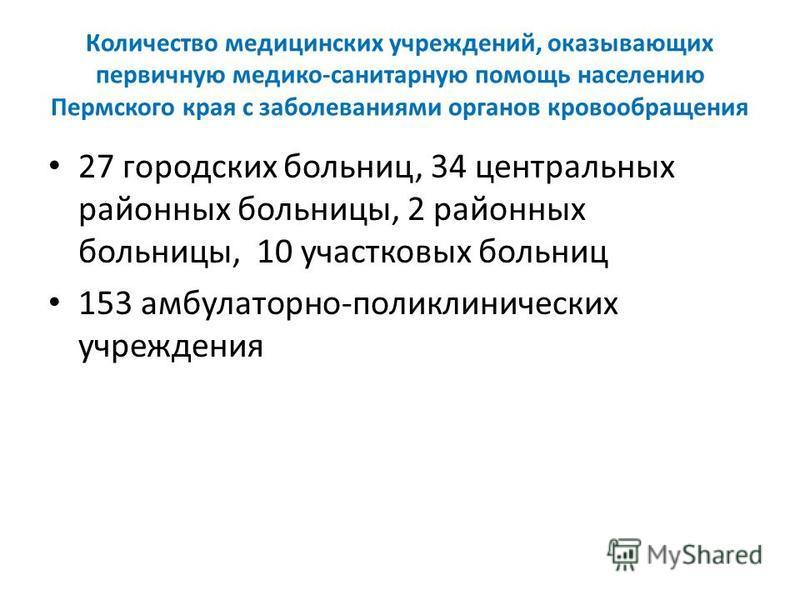 Количество медицинских учреждений, оказывающих первичную медико-санитарную помощь населению Пермского края с заболеваниями органов кровообращения 27 городских больниц, 34 центральных районных больницы, 2 районных больницы, 10 участковых больниц 153 а