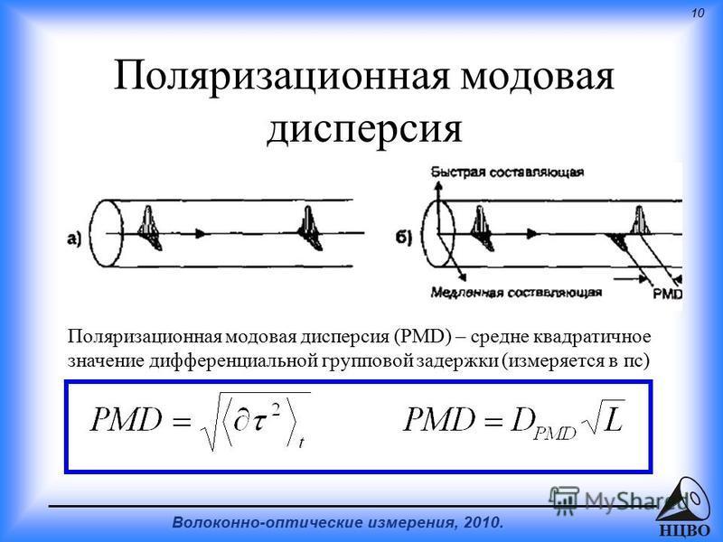 10 Волоконно-оптические измерения, 2010. НЦВО Поляризационная модовая дисперсия Поляризационная модовая дисперсия (PMD) – средне квадратичное значение дифференциальной групповой задержки (измеряется в пс)