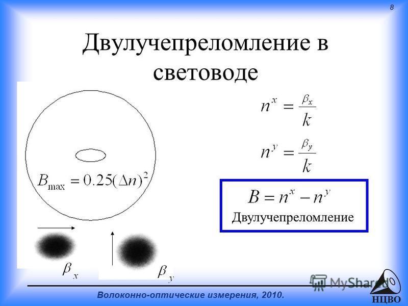 8 Волоконно-оптические измерения, 2010. НЦВО Двулучепреломление в световоде Двулучепреломление