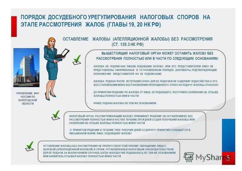 5 ОСТАВЛЕНИЕ ЖАЛОБЫ (АПЕЛЛЯЦИОННОЙ ЖАЛОБЫ) БЕЗ РАССМОТРЕНИЯ (СТ. 139.3 НК РФ) ВЫШЕСТОЯЩИЙ НАЛОГОВЫЙ ОРГАН МОЖЕТ ОСТАВИТЬ ЖАЛОБУ БЕЗ РАССМОТРЕНИЯ ПОЛНОСТЬЮ ИЛИ В ЧАСТИ ПО СЛЕДУЮЩИМ ОСНОВАНИЯМ: - ЖАЛОБА НЕ ПОДПИСАНА ЛИЦОМ, ПОДАВШИМ ЖАЛОБУ, ИЛИ ЕГО ПРЕД