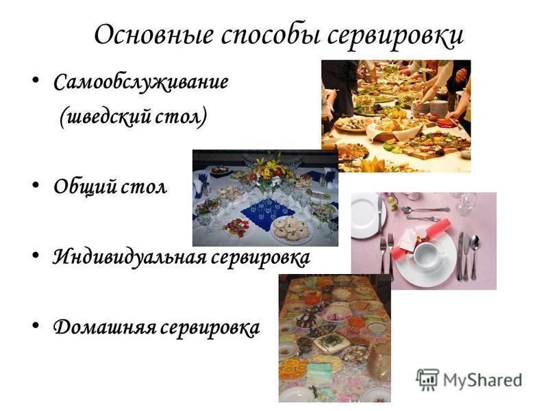 Основные способы сервировки Самообслуживание (шведский стол) Общий стол Индивидуальная сервировка Домашняя сервировка