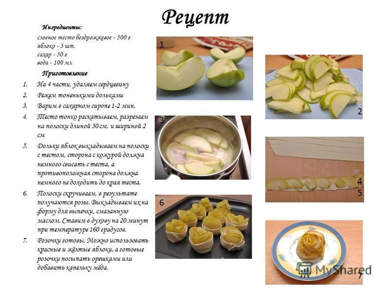 Рецепт Ингредиенты: слоеное тесто бездрожжевое - 500 г яблоко - 3 шт. сахар - 50 г вода - 100 мл Приготовление 1. На 4 части, удаляем сердцевину 2. Режем тоненькими дольками 3. Варим в сахарном сиропе 1-2 мин. 4. Тесто тонко раскатываем, разрезаем на
