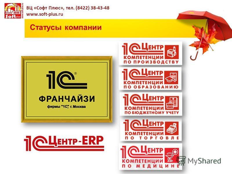 Статусы компании ВЦ «Софт Плюс», тел. (8422) 38-43-48 www.soft-plus.ru
