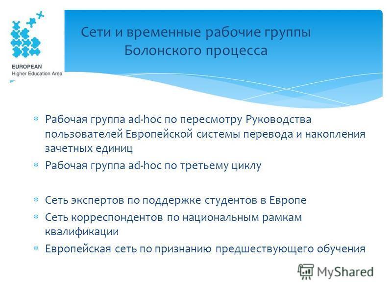 Рабочая группа ad-hoc по пересмотру Руководства пользователей Европейской системы перевода и накопления зачетных единиц Рабочая группа ad-hoc по третьему циклу Сеть экспертов по поддержке студентов в Европе Сеть корреспондентов по национальным рамкам