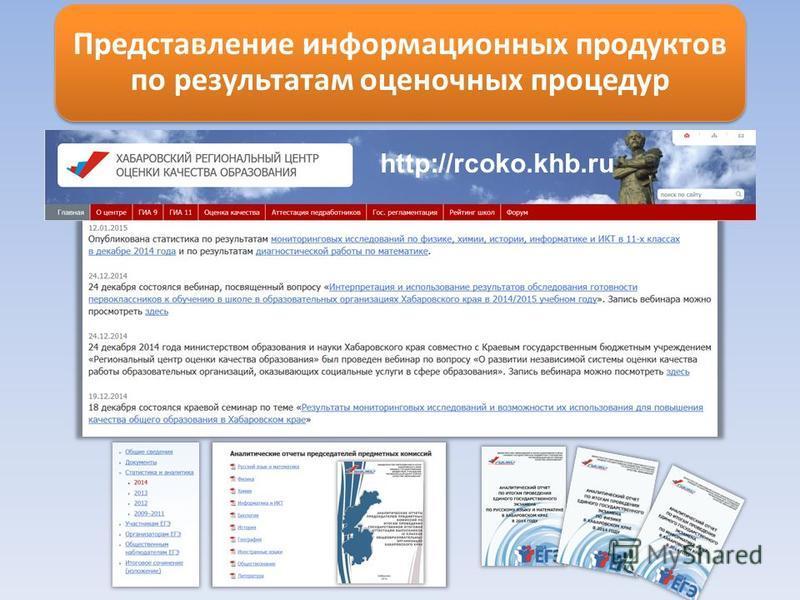 Представление информационных продуктов по результатам оценочных процедур http://rcoko.khb.ru