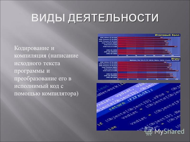 Кодирование и компиляция ( написание исходного текста программы и преобразование его в исполнимый код с помощью компилятора )