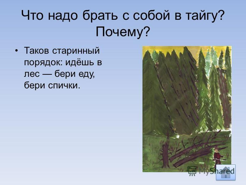 Что надо брать с собой в тайгу? Почему? Таков старинный порядок: идёшь в лес бери еду, бери спички.