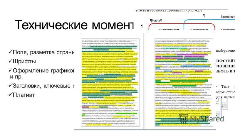 Технические моменты Поля, разметка страницы Шрифты Оформление графиков, таблиц, диаграмм и пр. Заголовки, ключевые слова и пр. Плагиат