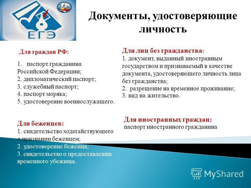 Документы, удостоверяющие личность Для граждан РФ: 1. паспорт гражданина Российской Федерации; 2. дипломатический паспорт; 3. служебный паспорт; 4. паспорт моряка; 5. удостоверение военнослужащего. Для иностранных граждан: паспорт иностранного гражда