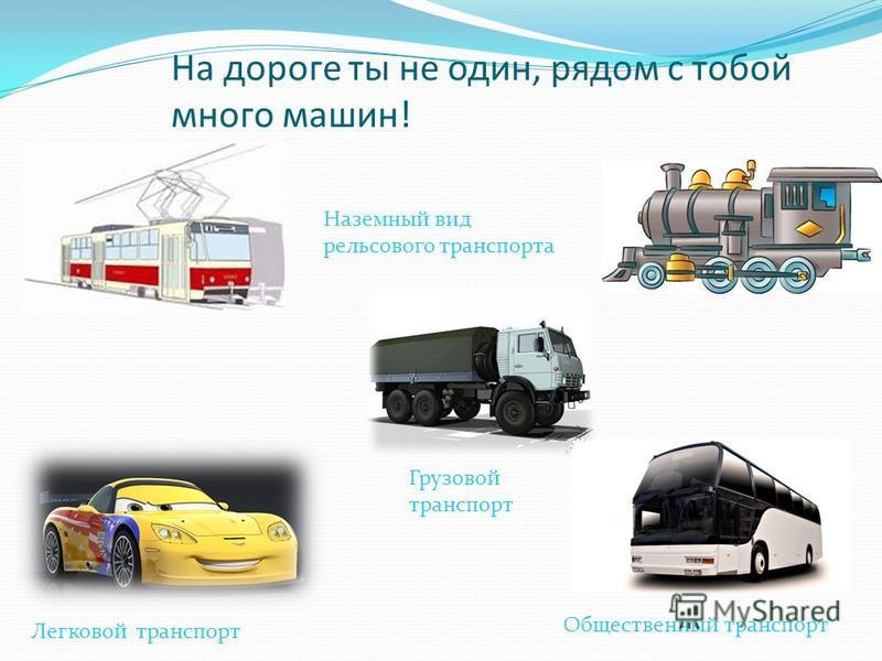 На дороге ты не один, рядом с тобой много машин! Легковой транспорт Грузовой транспорт Общественный транспорт Наземный вид рельсового транспорта